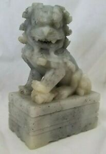 Vintage Chinese Marble Lion Foo Dog Figurine Fu Statue Asian 3 75 X 2 5