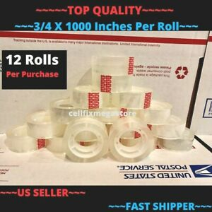 12x wholesale Lot 3 4 X 1000 Crystal Clear Transparent Tape Dispenser Refill