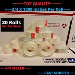20x wholesale Lot 3 4 X 1000 Crystal Clear Transparent Tape Dispenser Refill
