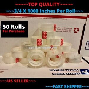 50x wholesale Lot 3 4 X 1000 Crystal Clear Transparent Tape Dispenser Refill