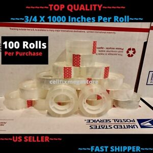 100x wholesale Lot 3 4 X 1000 Crystal Clear Transparent Tape Dispenser Refill