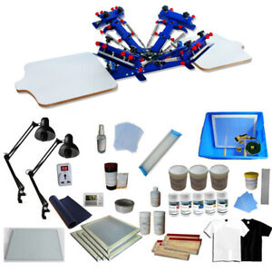 4 Color 2 Station Screen Printing Kit Adjustable Press With Exposure Squeegee