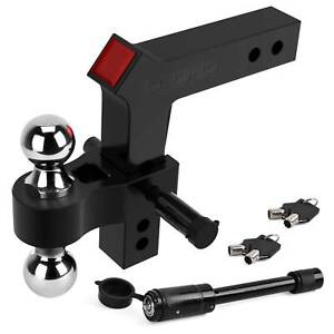 Oedro Adjustable Trailer Hitch Ball Mount 2 Receiver 8 Drop 10 000lbs Black