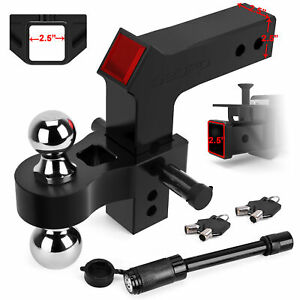 Oedro Adjustable Trailer Hitch Ball Mount 2 5 Receiver 8 Drop 15 000lbs Black