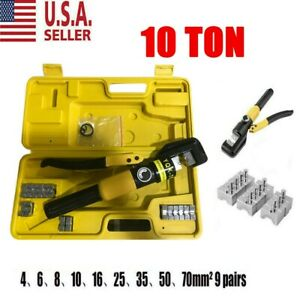 Hydraulic Wire Battery Cable Lug Terminal Crimper Crimping Tool 10 Ton W 9 Dies