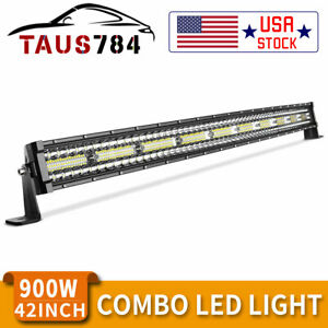 42 Inch 1050w Curved Led Light Bar Tri row Combo Off road Driving Work Mpv 44
