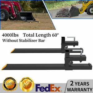 4000lbs 60 Tractor Clamp On Pallet Forks For Skid Steer Loader Bucket Universal