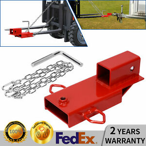 Forklift Hitch 2 Receiver Pallet Fork Trailer Tow Adapter W Chain Quick Attach
