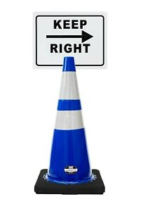 Rk safety 28 Blue Cone Black Base With Two Reflective Tape Plus Cone Sign 13