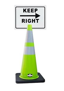 Rk safety 28 Lime Cone Black Base With Two Reflective Tape Plus Cone Sign