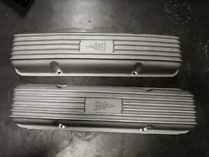 Vintage Hot Rod 327 350 Sbc Eelco Cast Aluminum Valve Covers Rat Finned