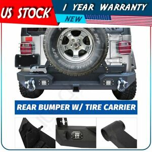 For Jeep Wrangler Jk unlimited Full Width Rear Bumper led Light tire Carrier