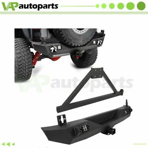 For 07 18 Jeep Wrangler Jk unlimited Rear Bumper W Tire Carrier led Light Steel