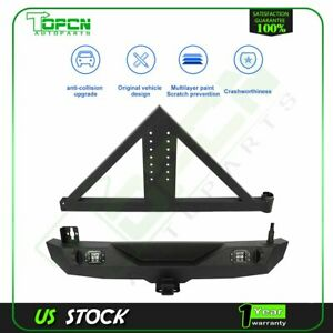 Triangular For 07 18 Jeep Wrangler Jk Rear Bumper W Tire Carrier Steel Black