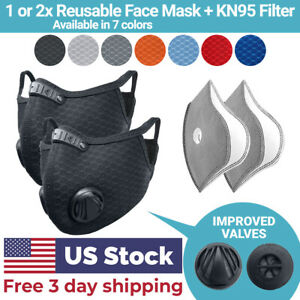 Cycling Face Mask With Activated Carbon Filter Valves Sports Reusable 1 2 Pack