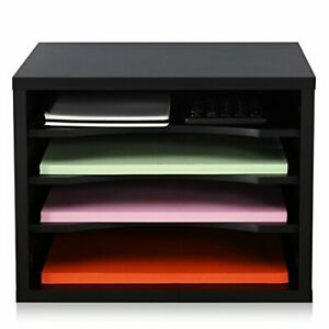 Fitueyes Black Wood Desk Organizer With 4 Storage Paper File Holder For Home And