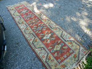 Vintag Turkish Oushak Anatolian Rug Runner 2 7 X 9 2 Nature Tones Just Washed
