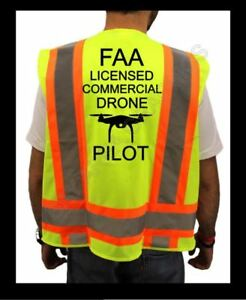 Faa Drone Pilot High Visibility Safety Yellow Vest Black Design Drone x large
