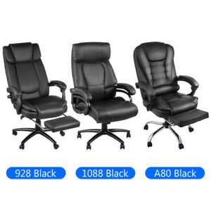 Executive Chair High Back Office Chair Reclining Height Adjustable Black Leather