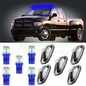 5x Roof Top Running Cab Marker Cover Clear Led Light Bulbs For Dodge