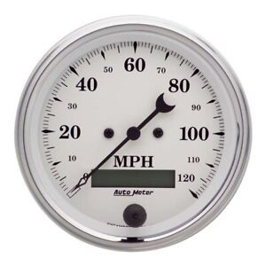 Autometer 1680 Old tyme White Air core Speedometer 3 3 8 Inch