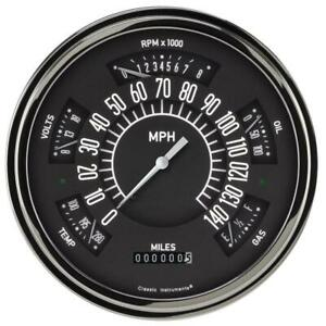 Classic Instruments Six Pack Gauge 1949 50 Chevy Black