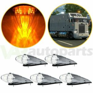 5pcs Amber 17led Truck Roof Cab Marker Clearance Top Lights For Peterbilt Mack
