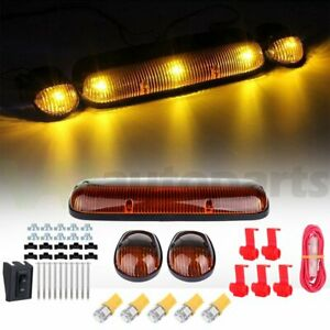 Set 3 Amber Cover Cab Roof Top Marker Lights 5x T10 Yellow Led For Chevrolet Gmc