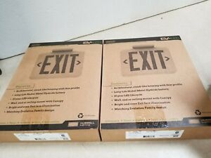 Lot Of 2 Dual lite Thermoplastic Ev Led Ac only Exit Sign White 93048320