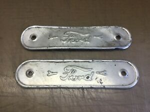 2 Vintage Ford Name Plates Emblems Pair Rough Condition