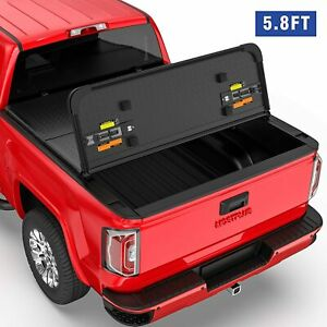 3 Fold 5 8ft Hard Truck Bed Tonneau Cover For 14 18 Sierra Silverado 1500 On Top