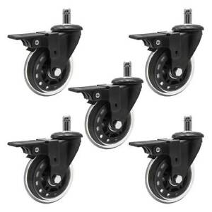 Set Of 5 Office Chair Caster Pu With Brake Wheels Replacement Heavy Duty 3 Inch