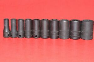 Rare New Snap on 1 4 Drive 10 Pc Semi Deep Metric 5 5 15mm Impact Socket Set