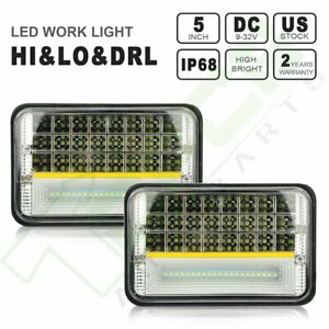 2x 4 X6 Hi Low Day Light Square Crystal Clear Sealed Headlight H4 Universal