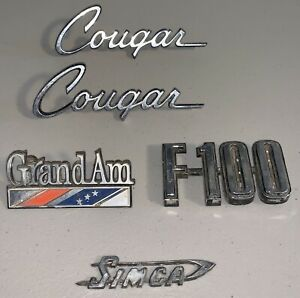 Lot Of 5 Vintage Used Nameplate Car Emblems F100 Cougar Grand Am Simca