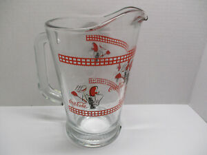 Vintage Libbey Coca Cola Glass Pitcher ~ Pre-owned ~ Unused ~ BBQ Motif