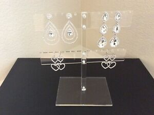 Set Of 2 Clear Acrylic Earring Displays Jewelry Holder Organizer Holds 28 Pairs
