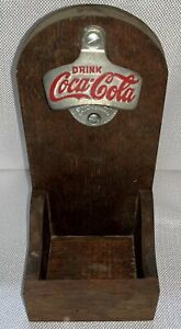 Vintage Coca Cola Wall Mount Bottle Opener With Cap Catch Box 1940's