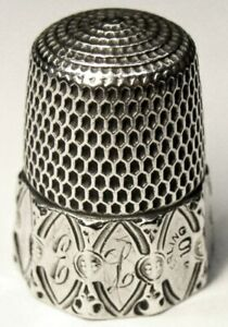Antique Simons Bros Sterling Silver Thimble Decagon Oval Panel E L C1890s
