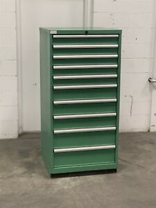 Used Lista 10 Drawer Cabinet Industrial Tool Parts Storage 2234 Vidmar