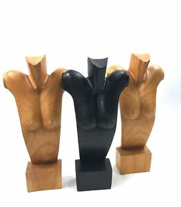 3 Jewelry Model Stand Necklace Display Wood Carved Mannequin Busts 19 H