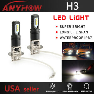 6500k H3 Led Fog Light Headlight Bulbs Car Driving Lamp Kit Drl White High Power