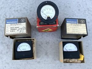 Vintage Westinghouse Weston Electrical Panel Meter Gauges Amperes Volt Lot Of 3
