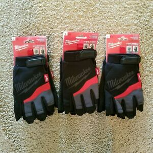 3 Pack Fingerless Milwaukee Gloves Size L Large For Protection Safety