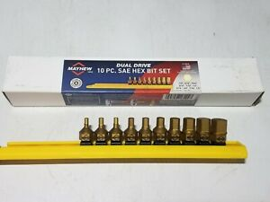 Mayhew 11pc Stubby Dual Drive Sae Hex Bit Driver Socket Set W Rail 16004