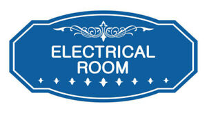 Victorian Electrical Room Sign blue Small 3 X 6