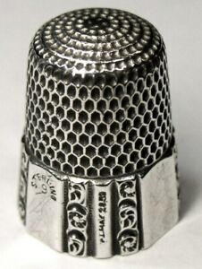 Antique Simons Bros Sterling Silver Thimble Fluted Octagon Dtd 1889