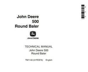 John Deere 500 Round Baler Technical Manual Tm1140 On Cd rom Disc