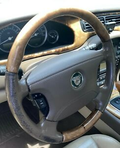 03 08 Jaguar S type Steering Wheel Column W Buttons Switches Air Bag Brown