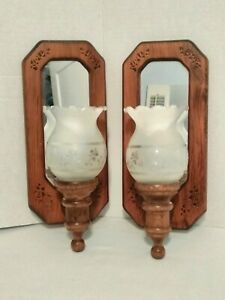 Vintage Pair Wood Wall Hanging Candle Sconces Mirrored Solid Wood 11
